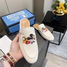 Gucci female casual outdoor flat half drag shoe mules comfortable saddle disney cartoon pattern printing