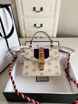 Gucci sylvie printing twist-lock clamshell portable square bag vintage messenger bag small size