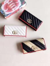 Gucci marmont female clamshell quited  triple-folding longwallet clutch multi-slots card holder