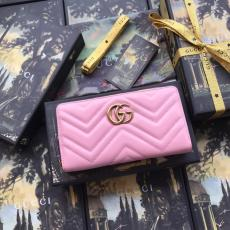 Gucci marmont female zipper V-shape quited longwallet purse multi-slots card holder delicate clutch