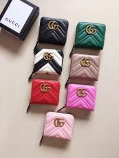 Gucci marmont female zipper V-shape quited coin pouch smallwallet