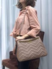 Gucci marmont female wave-shape quited opened large-capacity tote shopping bag antique bronze hardware