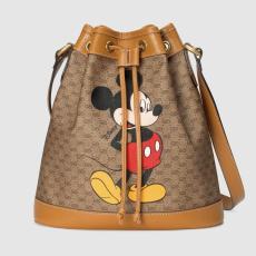 Gucci female canvas drawstring tassel bucket bag waterproof printing crossbody bag disney limited edition