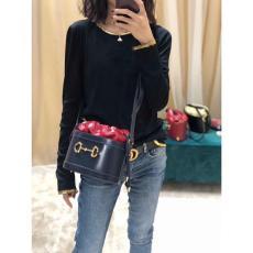 Gucci horsebit  female tassel drawstring bucket bag retro pure-color shoulder crossbody bag