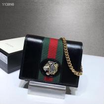 Gucci rajah female clamshell wallet-style woc sling-chain crossbody bag multi-slots card holder with crystal-embellished metal tiger head