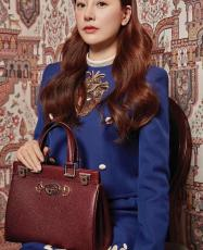 Gucci zumi  female casual plain portable shopping tote bag triple-compartment large-capacity medium size in pebbled leather