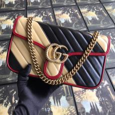 Gucci marmont female casual clamshell V-shape quited messenger bag sling-chain shoulder waist bag aureate hardware