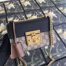 Gucci padlock female canvas twist-lock chain shoulder crossbody bag delicate retro compack suitcase golden hardware