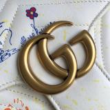 Gucci marmont female V-shape quited sling-chain shoulder crossbody bag disney limited edition double size antique bronze hardware
