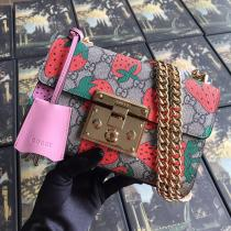 super cute Gucci padlock female  canvas sling-chain shoulder bag embellished with strawberry pattern printing