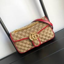 Gucci female marmont canvas V-shape quited clamshell sling-chain crossbody shoulder bag golden hardware double size