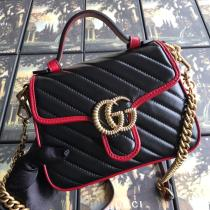 small size Gucci female  marmont V-shape quited clamshell portable messenger bag antique bronze hardware