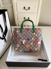 Gucci GG female printing lightweight tote shopping bag elegant opened handbag super cute practice
