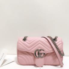 Gucci marmont female casual clamshell V-shape quited messenger bag sling-chain shoulder waist bag  aureate hardware medium size