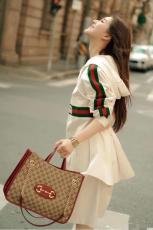Gucci horsebit female canvas lightweight large-capacity travelling shopping bag triple-compartment waterproof