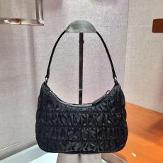 Prada female colorful plain zipper vintage hobo half-moon shoulder bag