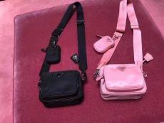 1BH017 Prada female nylon double zipper waterproof tthree-pieces set camera shoulder bag silver-tone hardware