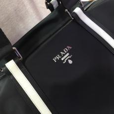 Prada neutral nylon large-capacity durable plain zipper travelling tote bag