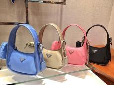 Prada female degradable nylon vintage hobo bag three-pieces set waterproof shoulder bag