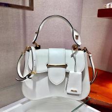 1BN005 Prada saffiano plain clamshell half-moon saddle bag portable vintage messenger shoulder bag antique bronze hardware