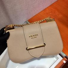 1BD184 Prada saffiano female solid color clamshell sling-chain crossbody shoulder bag double-compartment gold hardware