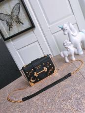 Prada cahier female casual vintage  mixed-material sling-chain messenger bag delicate compact suitcase antique bronze hardware