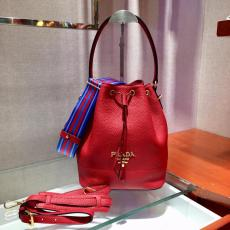 1BE018 Prada women's casual plain drawstring bucket crossbody bag attached with twin shoulder strap