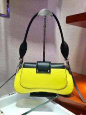 1BD168 Prada female color-contrast vintage flap half-moon saddle bag equipped with twin shoulder strap silver hardware