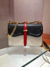 1BD188 Prada female flap double-compartment satchel sling-chain crossbodymessenger bag antique bronze hardware