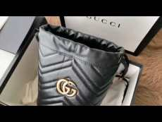 Gucci marmont female tassel drawstring bucket bag super cute sling-chain shoulder crossbody bag
