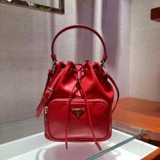 1BH038 Prada female pure-color drawstring tassel bucket bag perfect daily companion