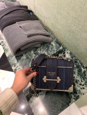 Prada cahier female casual vintage canvas messenger bag flap sling-chain crossbody bag compact suitcase silver hardware