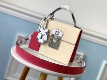 M90376 Louis Vuitton/LV spring street female stylish vintage portable doctor bag in monogram patent cowhide leather