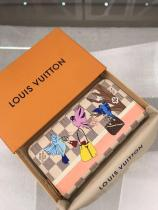 Louis Vuitton/LV ladies damier canvas envelope-type twist-lock long wallet graceful wrist bag clutch