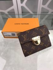 louis Vuitton/LV women's monogram canvas clamshell triple-folding small wallet multi-slots card holder