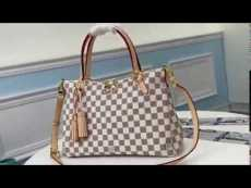M40023 Louis Vuitton/LV female large-capacity damier-canvas tassel shopping traveling bag golden hardware