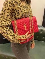 YSL envelope female quilted vintage flip messenger bag chain strap crossbody satchel medium size