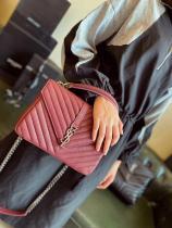 YSL monogram female quilted flip chain-strap crossbody bag retro small satchel