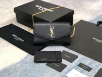 Yves Saint laurent/YSL uptown female WOC envelope-style flip chain strap crossbody bag attached to multislots card holder