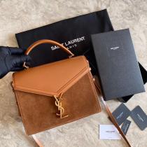 Yves Saint laurent/YSl cansandra mixed-material vintage flap messenger bag luxury handbag antique bronze hardware