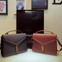 Yves Saint laurent/YSL Cansandra medium size female solid portable flip messenger bag scratch-proof crossbody bag