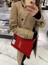 Yves Saint laurent/YSL Kate female double side flap sling-chain crossbody shoulder bag antique bronze hardware