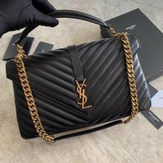 Yves Saint laurent/YSL monogram women chevron quilted portable messenger bag lightweight satchel bag  Large size