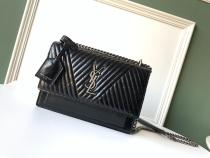 Yves Saint laurent/YSL Sunset22 chevron quilted vintage square bag slingsling-chain crossbody bag silver hardware