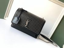 Yves Saint laurent/YSL Sunset22 female stylish vintage messenger bag chain-strap crossbody bag embellished with charming leather tag decoration