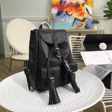 Yves Saint laurent/YSL neutral drawstring tassel outdoor mountaineer rucksack waterproof backpack in crocodile-grain leather