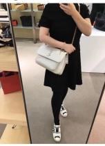 Yves Saint laurent/YSL women stylish quilted flip vintage messenger bag in lambskin leather