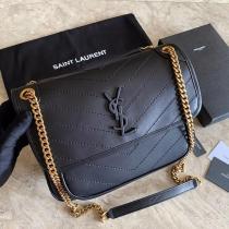 Yves Saint laurent/YSL women stylish quilted flip vintage messenger bag in lambskin leather golden-tone hardware
