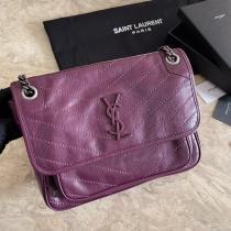 Yves Saint laurent/YSL NIKI28 ladies casual chevron quilted flip vintage messenger bag luxury chain-strap crossbody bag medium Size cherry color