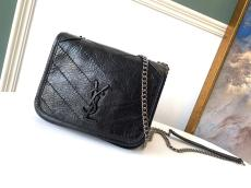 Yves Saint laurent/YSL female MIni NIKI sling-chain crossbody bag small flip square bag in vintage crinkled leather